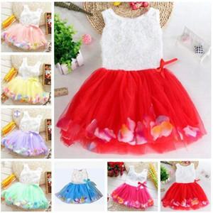 La ropa de los bebés de la princesa vestido de flores chicas 3D se levantó la flor del bebé del vestido del tutú colorido pétalo burbuja vestido de encaje falda de baile viste C656