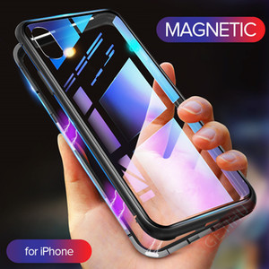Metal Magnetic Case For iPhone 11 Pro Max XR XS MAX X + Tempered Glass Magnet Case Cover For iPhone 8 7 6 6s s Plus Case