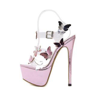 Sandali gladiatore Sandali con cinturino con cinturino alla caviglia Donna Sandali con fiore trasparente donna 17cm Sandalo da donna viola sexy estivo