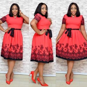 Hot Sale Africa Women Mesh Pearl Plus Size Floral Print Dress with belt