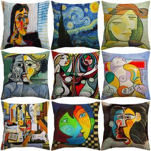 Pablo Picasso Peintures Housses de Coussin Européenne Moderne Abstrait Peinture Art Housse De Coussin Canapé Décoratif En Lin Taie D'oreiller
