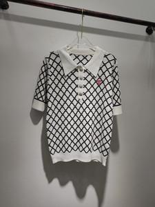 밀라노 활주로 스웨터 2,020 짧은 소매 옷 깃 목 여성 스웨터 하이 엔드 자카드 풀오버 여성 디자이너 스웨터 0323-22