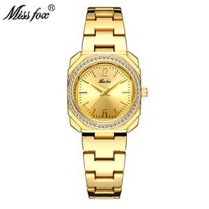MISSFOX Women Watch Fashion Designer Gold Watches Bling Lady Diamond Stainless Steel Bracelet Quartz Clock New 2020