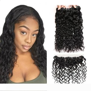 A Ishow Hair Brazilian Water Wave Human Hair Bundles Wholesale Cheap 8A Hair Bundles 4Bundles With 13x4 Ear to Ear Lace Frontal Closure