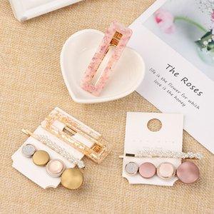 Clips de 3pcs / set Perlas Moda Acetato geométrica pelo para las mujeres de las muchachas de la venda de las horquillas dulce Barrettes Accesorios para el cabello Set