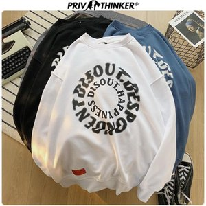 Privathinker Men 2020 Spring Unisex Fashion Hoodies Pullover O-Neck Sweatshirt Male Letter Print Clothes Pullover Oversized 5XL