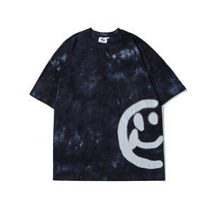 Vintage camisetas Homens e Mulheres O pescoço solto Casual camisetas Oversize manga curta Streetwear T-shirt Tie Dye