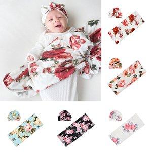 INS bebé Swaddle Mantas para bebé floral de empañar Mantas + turbante Sombrero 2pcs / set recién nacido Swaddle Wraps lecho del bebé fotográfico Puntales M1801