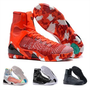 Vente en gros classique 9 IX Elite Black Mamba Blackout Noël High Top Sneakers Sport Chaussures Taille 40-46