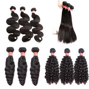 نسج بيلا Hair® غير المجهزة البرازيلي الشعر العذراء حزم الشعر شعر إنساني إمتداد طبيعي اللون موجة الجسم مستقيم فضفاض موجة مجعد