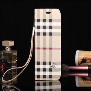 Moda Tasarımcısı Telefon Kılıfı Için iPhone 11x Xs Max XR 8 7 Marka PU Deri Cep Telefonu Kapak Kılıfları Galaxy S20 S10 Not 10 Kickstand Shell