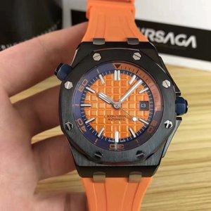 Compras gratuitas Venta caliente Reloj de lujo Caja de acero inoxidable negro con correa de goma de color Relojes mecánicos automáticos para hombre