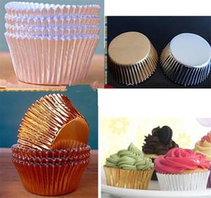 Cocina comedor barra de plata de oro cajas de la magdalena papel de papeles para muffins revestimientos tazas de la torta del molde de hornear