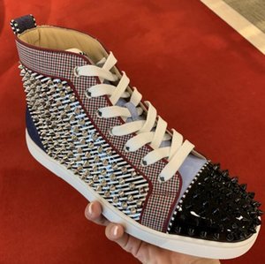 Zapatos de tacón alto Orlato Striped Patent Leisure Pisos de mujer, Hombres Zapatos inferiores rojos Pareja de alta calidad para caminar informal con caja