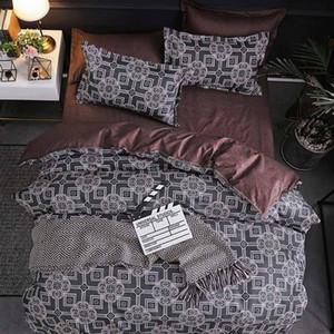 격자 줄무늬 디자인 침구 한 벌 누비이불 덮개 장 베갯잇 3pcs Beding 세트 새로운 면 여름 침대 공급
