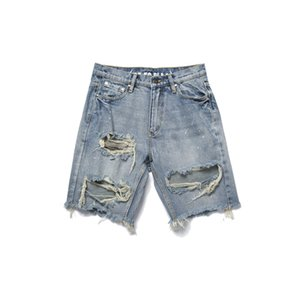 Pantalons Hommes d'été Shorts Jeans Noir Blue Hole Ripped Shorts Denim Washed mode Casual High Street