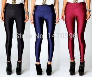 Hot Women High Waist Stretch Skinny Shiny Spandex Leggings