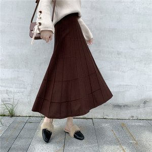 Womens A-Line Long Skirt Elastic High-Waist Female Plus-Size Loose Hip-Slim Vintage Casual Autumn Winte Knitted Skirt