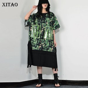 XITAO Patchwork Camouflage Tassels Casual Dress Women 2020 Personality Fashion Tide New Style O Neck Collar Short Sleeve XJ3724
