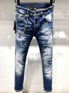 Горячая распродажа!2020 высокое качество бренд дизайнер мужчины джинсовые джинсы вышивка брюки мода отверстия брюки США размер 28-38