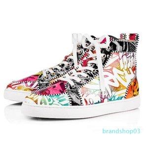 Hot Luxury2019 ACE-Entwerfer-Marken-Rot grundiert verzierte Spitzen-Ebene-Schuhe Männer Frauen Mode High Cut Multicolor-Party-Liebhaber Freizeitschuhe LTS