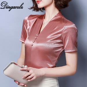 Dingaozlz Artı boyutu giyim V yaka Kadınlar Gömlek Yaz Kısa Kollu T gömlek Casual Kadın Örme Üst blusa Feminina