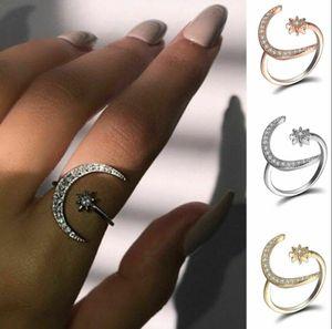 Moda Prata CZ Lua e Anéis de Estrela Mulheres Jóias de Casamento Aberto Anel Ajustável