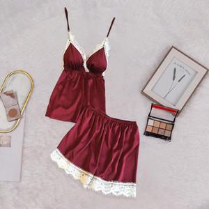 لباس نوم النساء الدانتيل الحرير البجامة Sexy Satin Pajama Set White Lace V-Neck Pijama mujer navidad #C