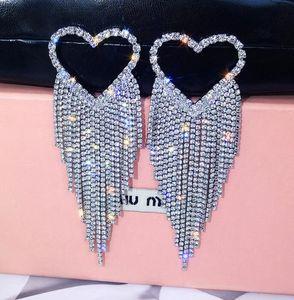 Moda Tasarımcısı Püskül Küpe Kristal Tatlı Kalp Uzun Dangle Küpe S925 İğne CZ Elmas Küpe Takı Shining ile