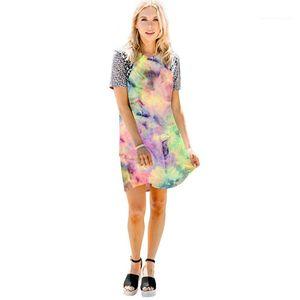 Robe d'été lambrissée Designer imprimé léopard Straignt Une ligne T-shirts Robe femelles Fasion vêtements décontractés Femmes Contraste Couleur