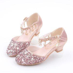 أطفال أحذية للبنات الأميرة عالية الكعب أزياء الأطفال الصنادل بريق جلدية زهرة فراشة عقدة حزب اللباس الرقص الزفاف