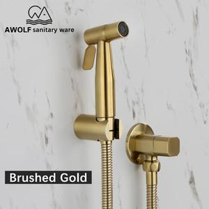 Hand Toilette Bidet Sprayer gebürstetes Gold Edelstahl Bidet Jet Douche Kit Shattaf Wasserhahn Toilettenreiniger Reinigung AP2155