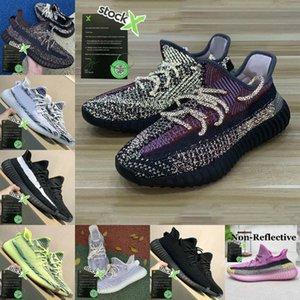 Sapatos Stockx Yecheil Yeshaya Preto estática 3M reflexiva Kanye West V2 Esportes Citrin nuvem branca Synth argila Zebra Homens Mulheres instrutor Sneakers