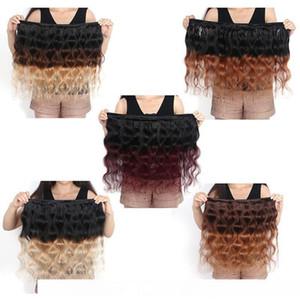 Un Ombre capelli colorati 3 pacchi brasiliana peruviana dei capelli malesi umani del Virgin tessuto del corpo onda Ombre colorati fasci di capelli Vendors 12 -24