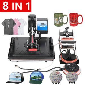 Envío libre 12x15 pulgadas 8 en 1 camisa de sublimación prensa del calor de la máquina para la impresión T / del teléfono / Cap / Puzzle