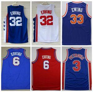 İyi Kalite Sportwear nakış 33. Patrick Ewing Jersey 6. Dr J Julius Erving Formalar Beyaz Mavi 3. Drazen Petrovic Spor Gömlek S-XXL