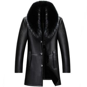 2018 inverno NUOVI uomini giacca di pelle genuino mens cappotto di pelliccia di pecora maschio sottile Business Casual giacca lunga M-4XL