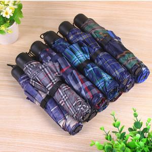 Al por mayor de la tela escocesa de tres paraguas plegable portátil plegable de la manija Mini Short paraguas Logotipo personalizable regalo promocional paraguas DH0807 T03
