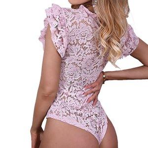 Seksi Erotik Romper tulumlar Hollow Out Dantel Bodysuit Feminino Ruffles Kısa Kollu Body Suits Sıska Parti PL233G Tops