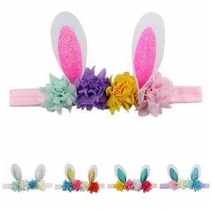 Accesorios para el cabello de los niños Pascua venda de la flor del oído de conejo diadema de lentejuelas arco conejito de Pascua floral Las vendas niños LJJA3692
