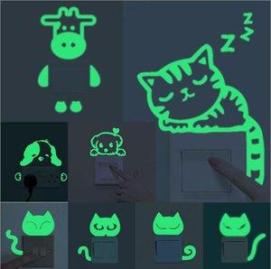 5 pcs Color Random Cute Animals Glow in the Dark Switch Cover Wall Sticker Peel DIY Luminous Vinyl Mural Decor Home