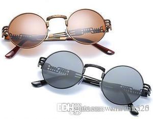 Óptico redondo del metal de Steampunk Gafas de sol Hombres Mujeres Moda Marca de los vidrios Lentes de sol Retro Vintage