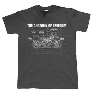 Sıcak Yeni Freedom Erkek Biker T Shirt 2020 Yaz Moda Anatomi - Superbike Motosiklet Hediye Him Baba Tee Gömlek için