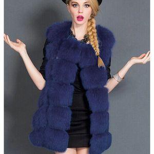 2020 yeni stil Sahte Kürk Kolsuz Yelek Kış Kalın Coats Kadınlar Moda Casual Ceket Sıcak İnce Sahte Dış Giyim Kadın Kış Yelek