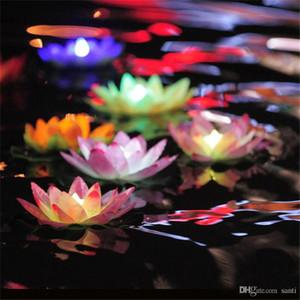 Festivo Diámetro 18 cm LED Lotus lámpara de colorido Changed agua flotante piscina Deseando lámparas de luz de las linternas para la decoración