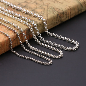 Personalisieren 925 Sterling Silber Schmuck antikes Silber amerikanische handgefertigte Designer Erbskette Halskette mit Karabinerverschluss keine Anhänger