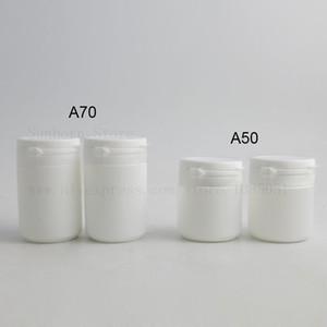 500pcs plastic Pill Bottles Cap Medicine Container White Vitamin Capsule Case Holder 50 70ml