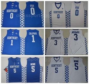 NCAA College Kentucky Wildcats Jerseys كرة السلة 1 جون كاليباري - ديارون فوكس 5 مالك مونك 3 إدريس أديبايو 15 دي ماركوس كازينس 00 ديلك
