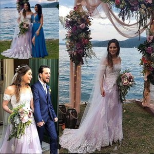 Country Lavender Lace Wedding Dresses 2019 Modest Off Shoulder Full Applique Full length Beach Party Bridal Colorful Wedding Gown