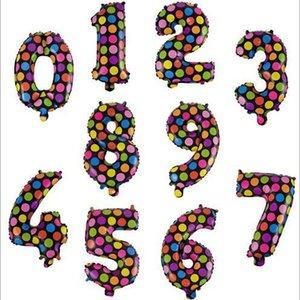 Globos redondos Dots aluminio de la capa Número globos regalos de boda coloridas niños Juguetes de Navidad Feliz Cumpleaños Decoración 16inch DYP1068